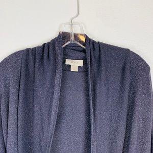 Loft Dark Purple Shimmer Open Cardigan Sweater